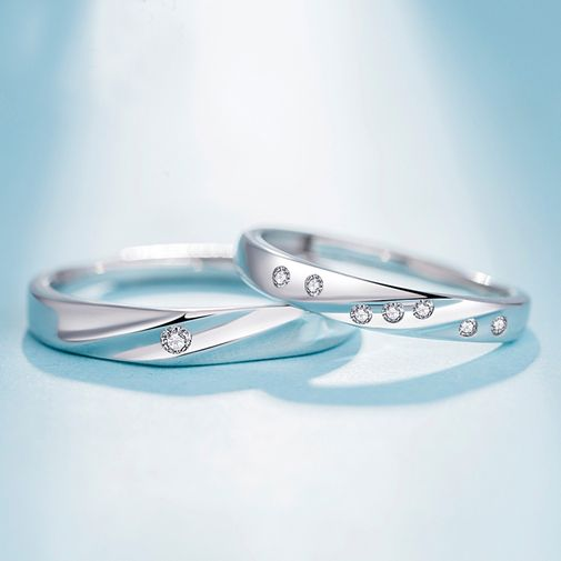Stripe Curved Surface Adjustable Bridal Ring Set