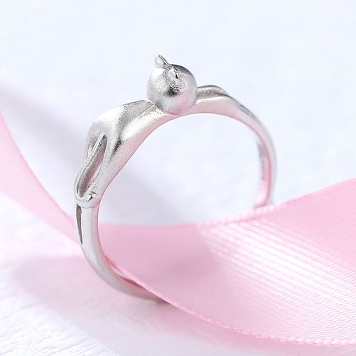 Sterling Silver Frosted Cat Women's Ring