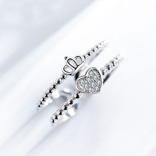 Double Layers Crown Heart Silver Open Ring