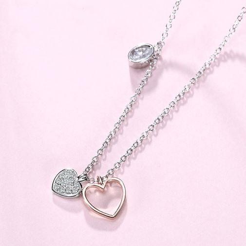 Tiny Hearts Oval Silver Silver Necklace