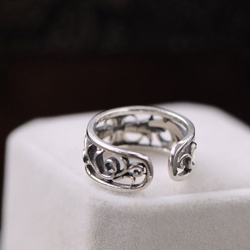 Double Band Hollow Pattern Men's Little Finger Ring