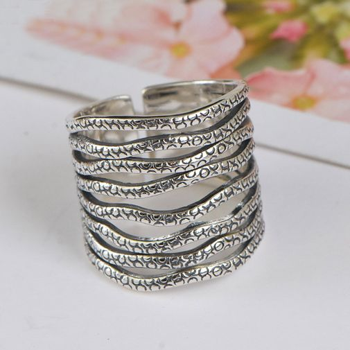 2cm Multi-layers Wave Band Open Ring