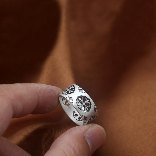 11mm Hollowed Cross Flower Man's Band Ring