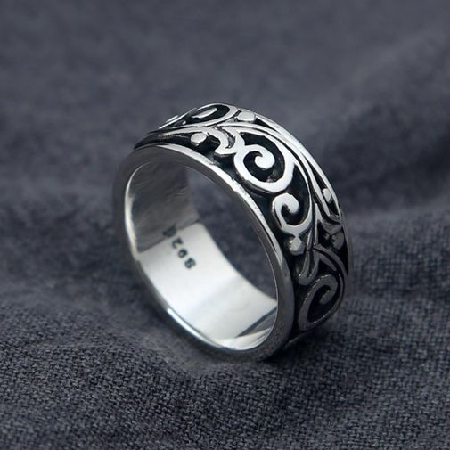 9mm Flower Vine Band Ring in Silver