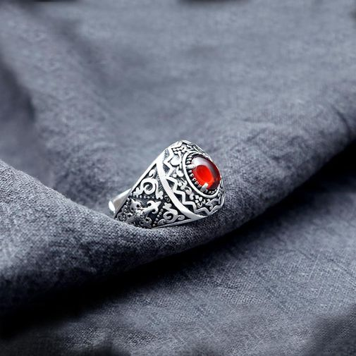 Garnet Antiqued Silver Chunky Ring