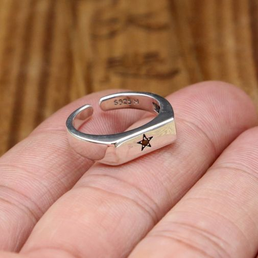 Star Rectangle Top Open Ring