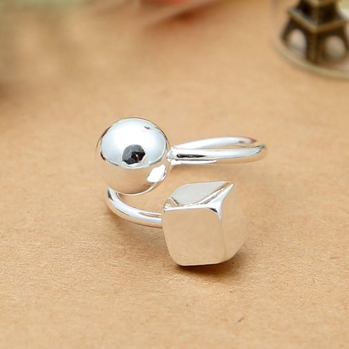 Sterling Silver Square Ball Wrap Ring