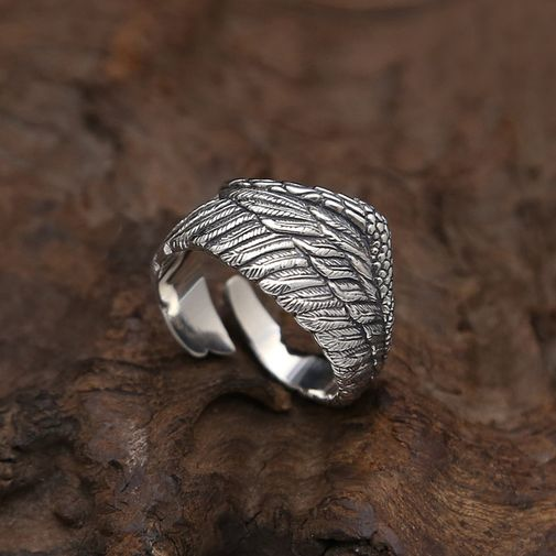 14mm Wing Oxidized Open Ring in Silver