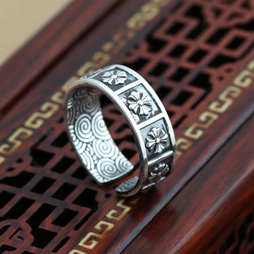 7mm Cross Flowers Band Ring