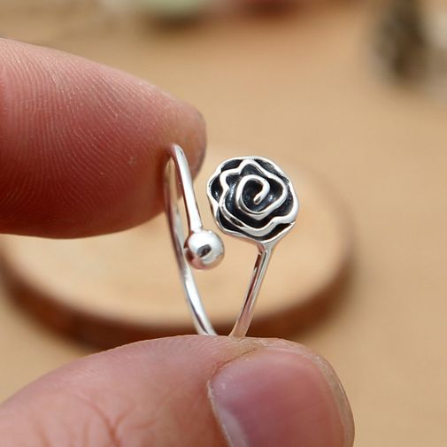 Black Rose and Ball Open Ring for Women