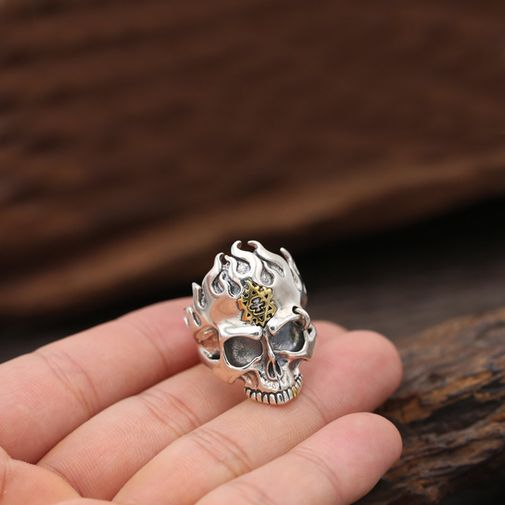 Flame Skull Gothic Ring for Man