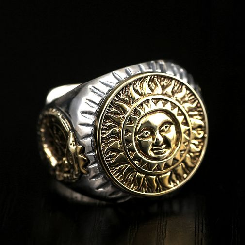 20mm Sun Flower Face and Compass Signet Ring