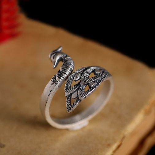 Sterling Silver Peacock Wrap Ring