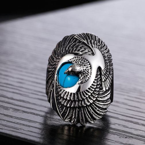 35mm Indian Turtledove Turquoise Ring