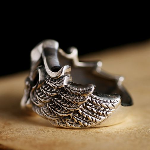 18mm Anchor and Eagle Wings Gothic Ring