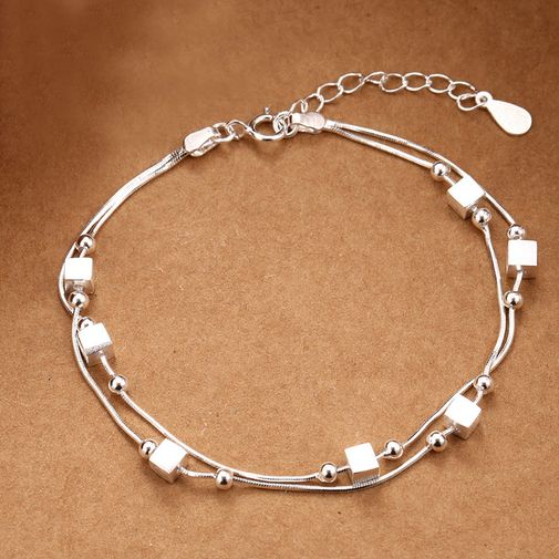 Cubes and Beans Spaced Double Layers Bracelet