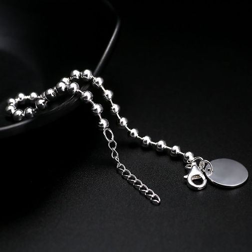 'Round Tag Charm' Sterling Silver Bead String Bracelet