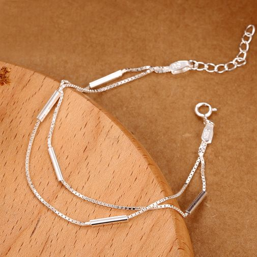 Two-in-one Layer Silver Chain Bracelet