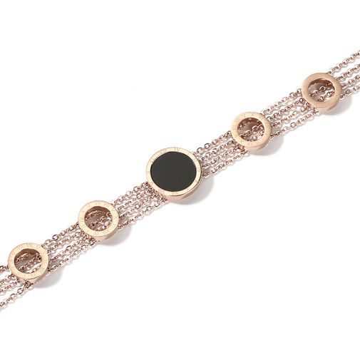 MULTI Chain Bracelet with Round Tag Stone