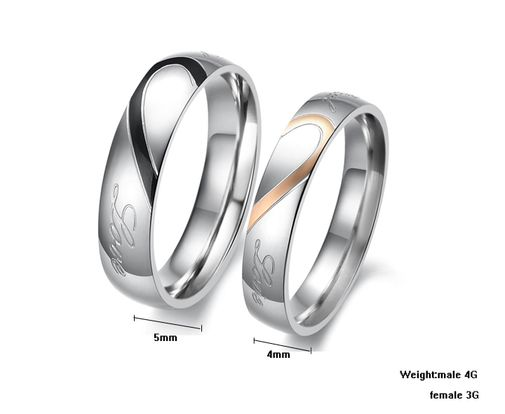 Love Heart Stainless Steel Couple Wedding Bands Matching Set