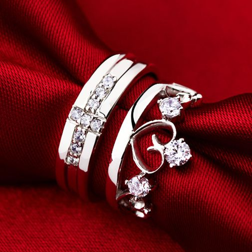 His & Hers Crown Cubic Zirconia 925 Silver Couple Engagement Rings
