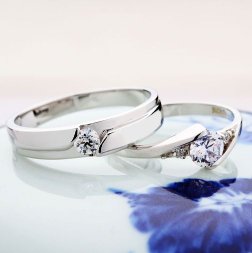 S925 Sterling Silver Solitaire Cubic Zirconia Couple Wedding Bands