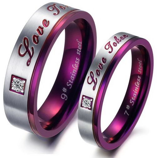 Love Token Engraved Purple Classic Stainless Steel CZ Promise Rings