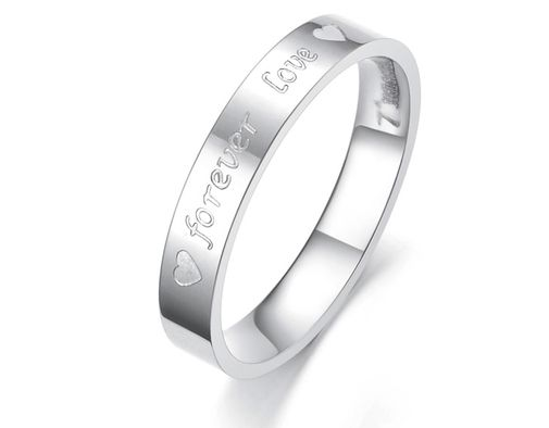 Forever Love and Heart Engraved Stainless Steel Wedding Bands Set