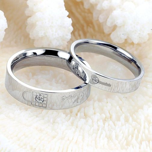 Lock & Key Stainless Steel Couple Promise Rings Matching Set