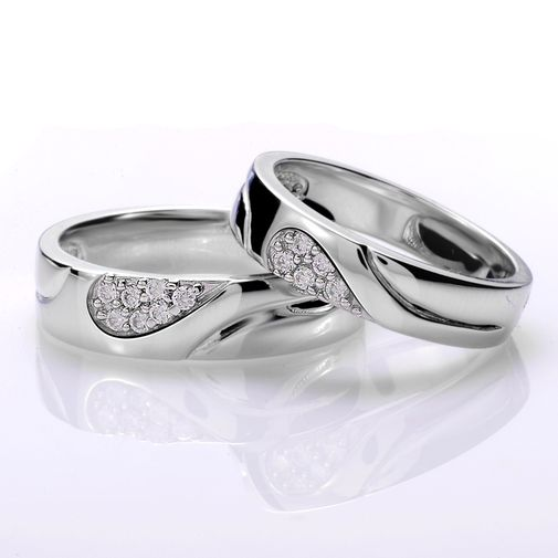 Cubic Zirconia Matching Love Heart 925 Sterling Silver Couple Wedding Bands