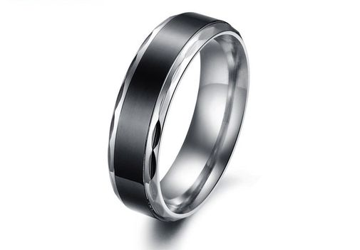 Black & Silver Concise Style 316L Stainless Steel Couple Wedding Bands