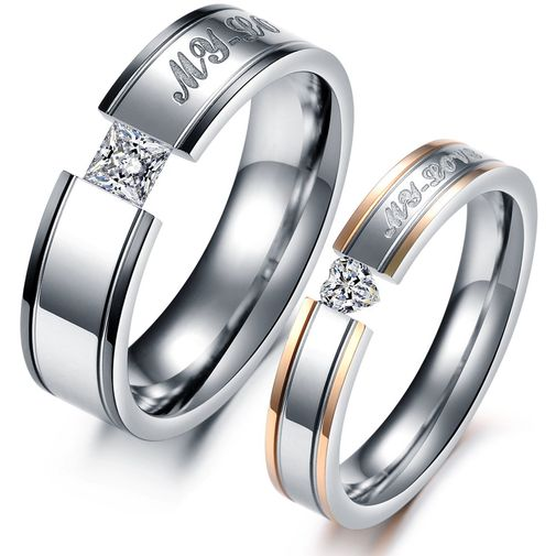 """""""My Love"""" Engraved Heart CZ Stainless Steel Couple Wedding Rings"""