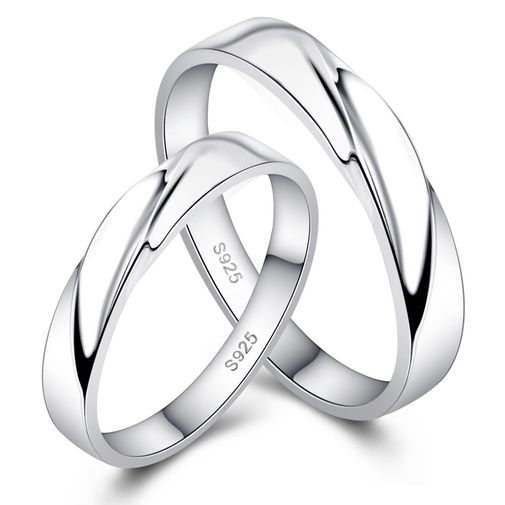 Bend Surface 925 Sterling Silver Couple Wedding Bands