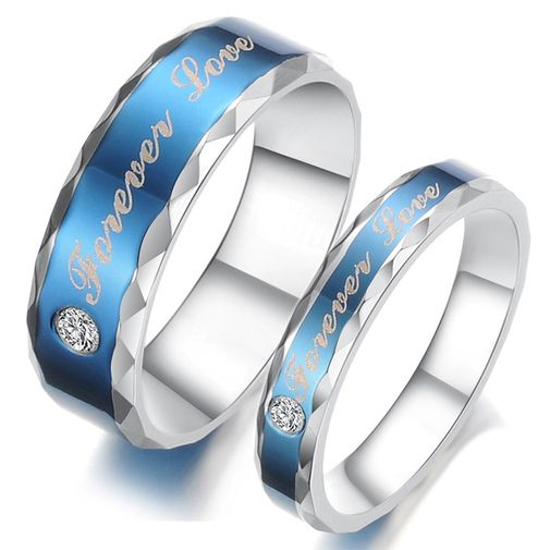 """Forever Love"" Engraved Blue Stainless Steel CZ Couple Wedding Bands Set"