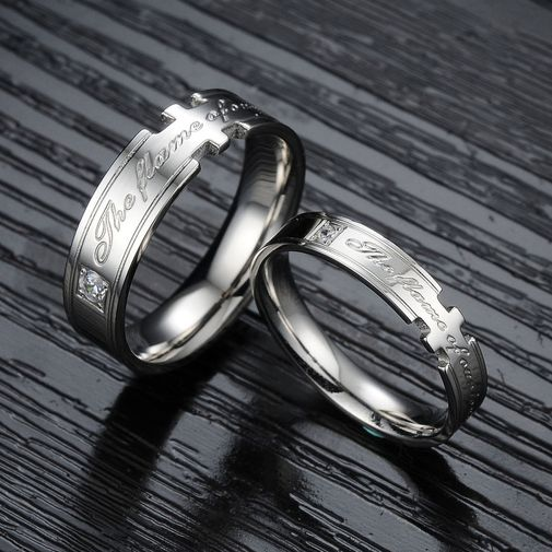 """""""The Flame of Our Love"""" Engraved Stainless Steel Couple Wedding Bands"""