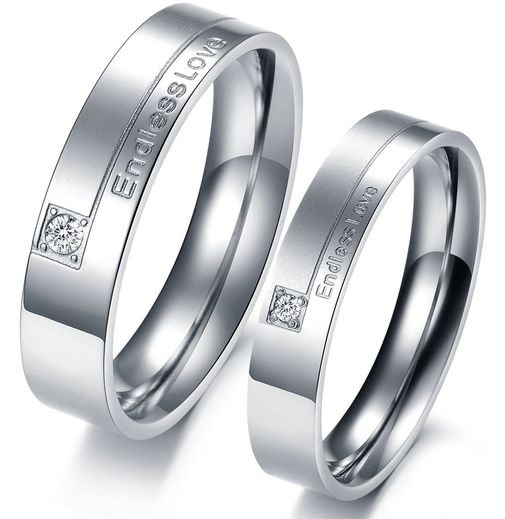 """Endless Love"" Engraved CZ Stainless Steel Promise Rings"