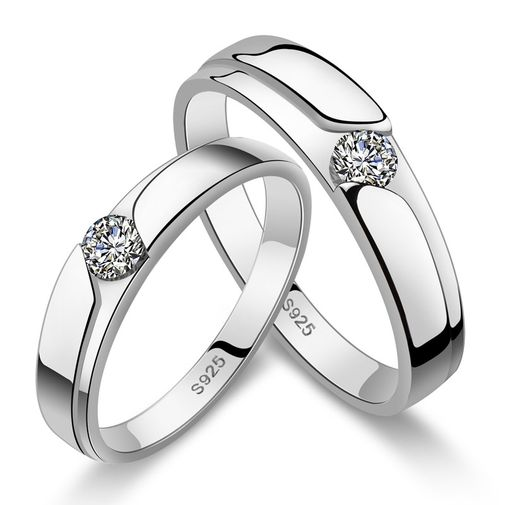 Classic Solitaire CZ 925 Sterling Silver Couple Wedding Bands Set