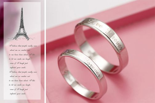 """Love Forever"" Engraved S925 Sterling Silver Couple Wedding Bands"