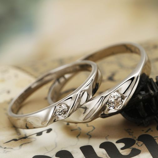 Bend Surface with CZ 925 Silver Couple Promise Rings