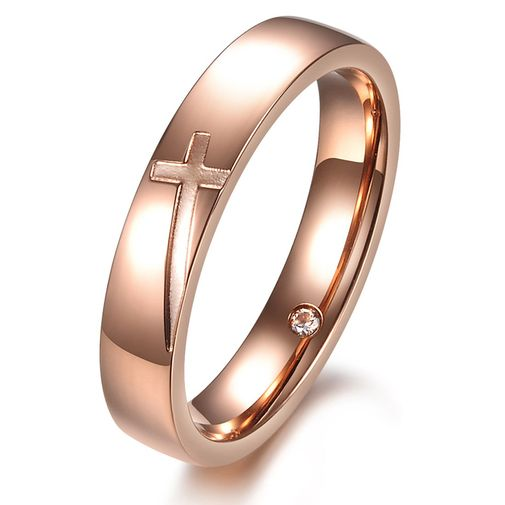 Cross Titanium Couple Matching Engagement Rings