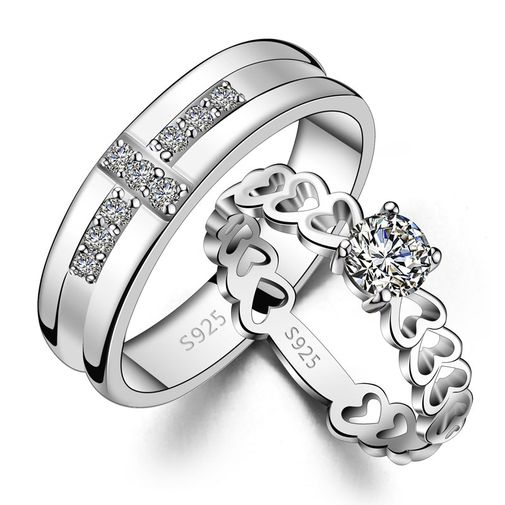 925 Silver Solitaire Cross and Hollow Heart Round Couple Wedding Bands