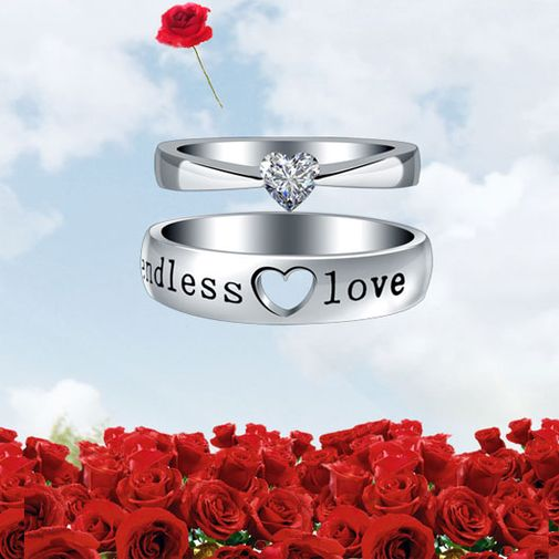 """Endless Love"" Engraved Heart Cubic Zirconia Couple Wedding Bands"