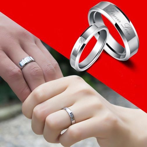 """Forever Love"" Engraved Tungsten Couple Wedding Bands"