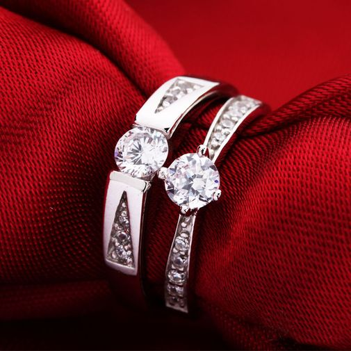 Classic Solitaire Cubic Zirconia S925 Silver Couple Wedding Bands