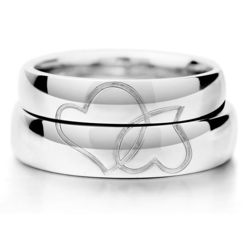Double Heart Engraved S925 Sterling Silver Couple Wedding Bands