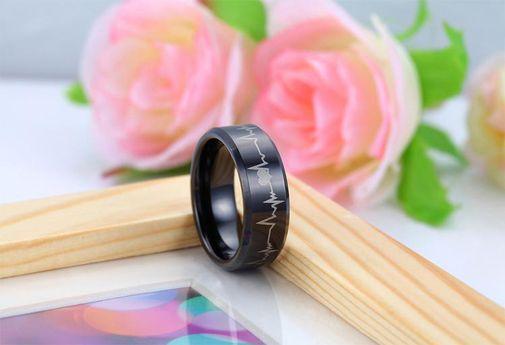 Unisex Tungsten Carbide Comfort Fit Heartbeat Cardiogram Ring Never Fade