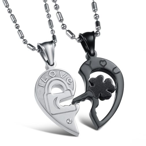 Love Heart Stainless Steel Matching Couple Pendant Necklaces Set