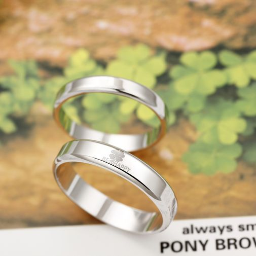 Four Leaf Clover 925 Silver Couple Promise Rings