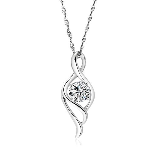 Angel's Wing Women's 925 Silver Pendant with Water-wave Chain