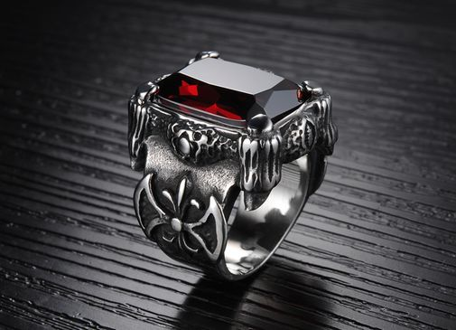 Men's Black Vintage Titanium Ruby Gemston Wedding Band